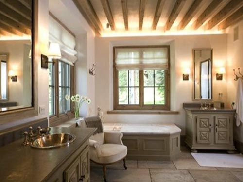 Gorgeous! Stone Floors And Cabinet Top, Raw Wood Work On The Walls