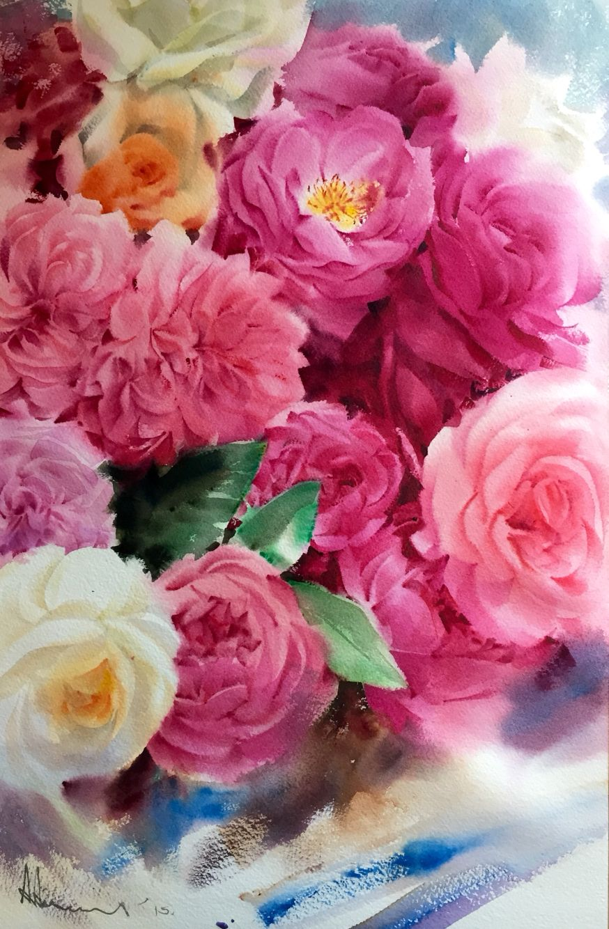 Roses By Adisorn Pornsirikarn Flower Painting Floral Watercolor Flower Drawing