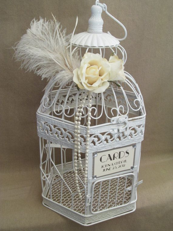 Vintage Style Wedding Card Box Ostrich By SouthburyTreasures 6000