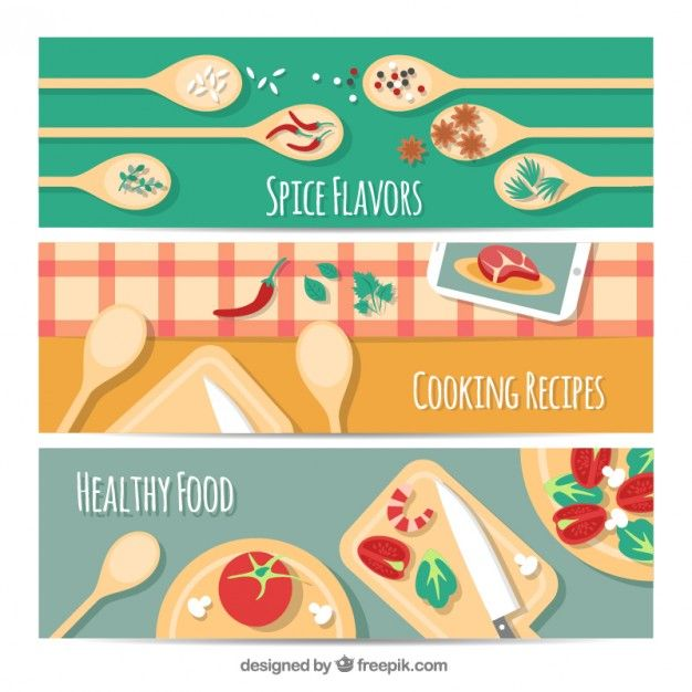 kitchen banners Free Vector