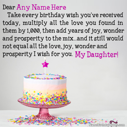 Best Birthday Wishes For Daughter With Name And Photo Cards Png 500x500 Names