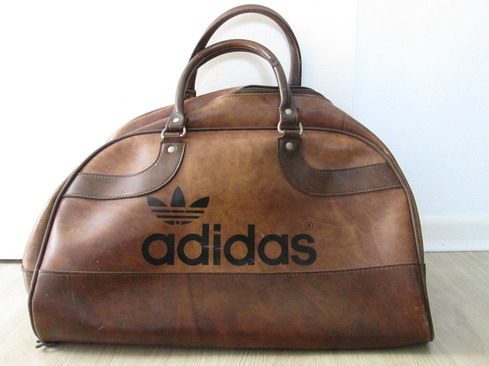 Vintage Retro Adidas Peter Black Sports Holdall Kit Bag Brown Leather Vinyl  ♢ ff6c0ff17008d