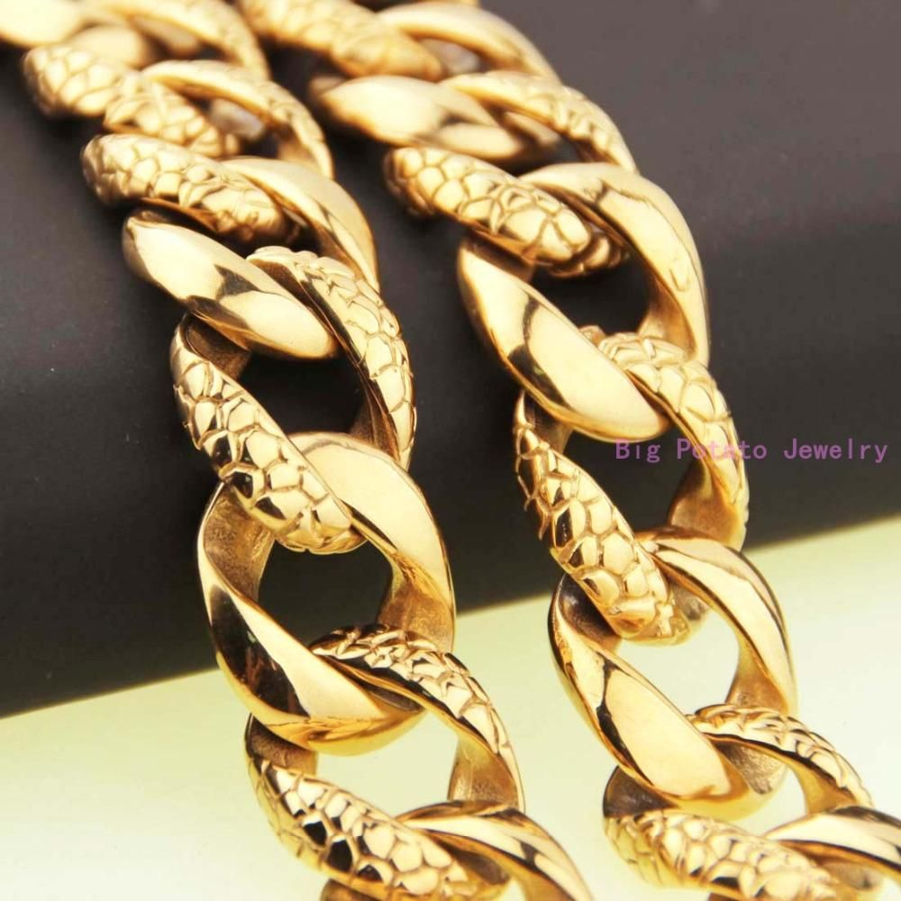 Exquisite mm wide gold casting necklace chian l stainless steel