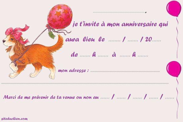 invitation anniversaire theme chien