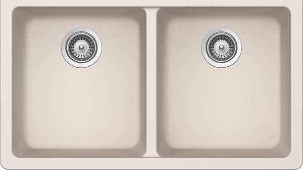 SCHOCK ALIN200YU026 ALIVE Series CRISTALITE 50/50 Undermount Double Bowl Kitchen Sink, Everest