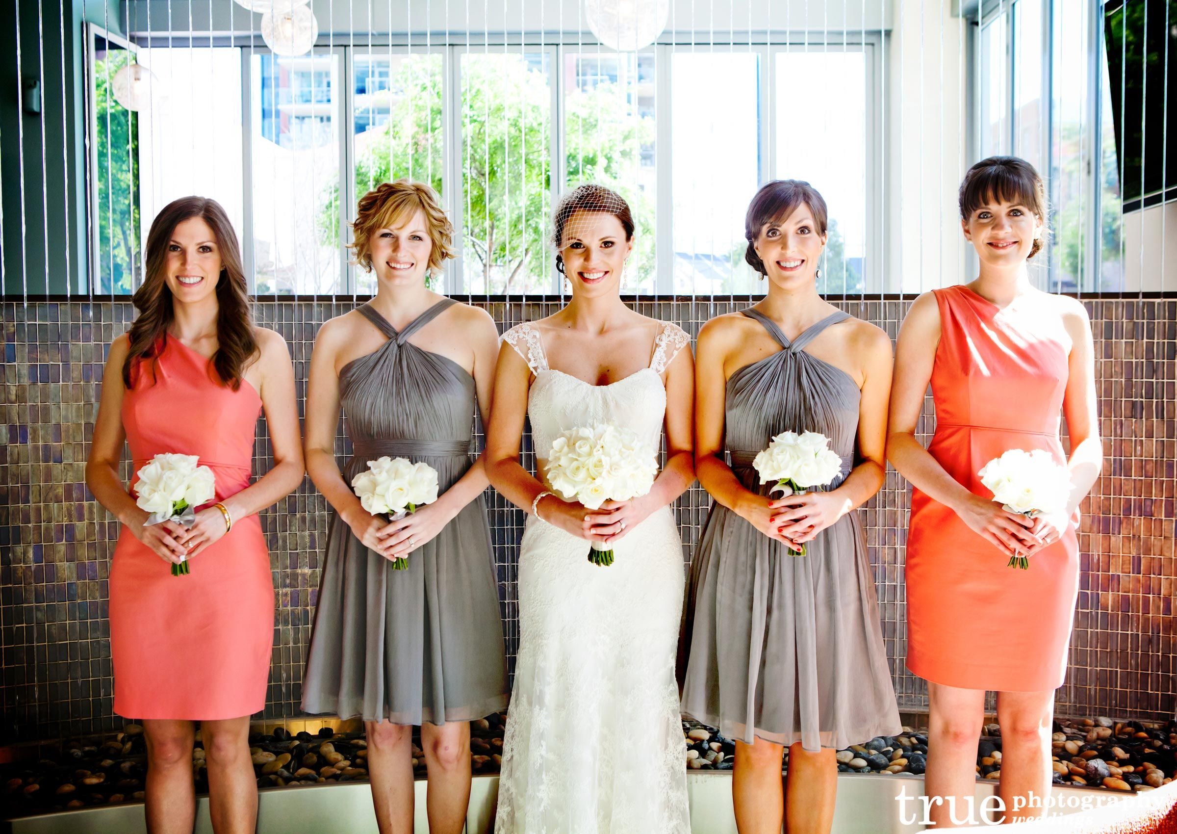 Cheap wedding reception images coral gray creates custom coral and gray bridesmaids dresses photo by true photography weddings would be cute if the bride had coral flowers ombrellifo Images