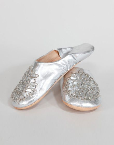 Ladies Moroccan Slippers - Silver