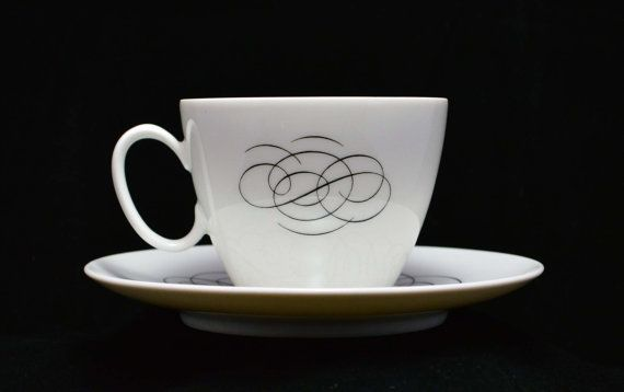 Continental China Germany Script Design Cup /& Saucer by Raymond Loewy