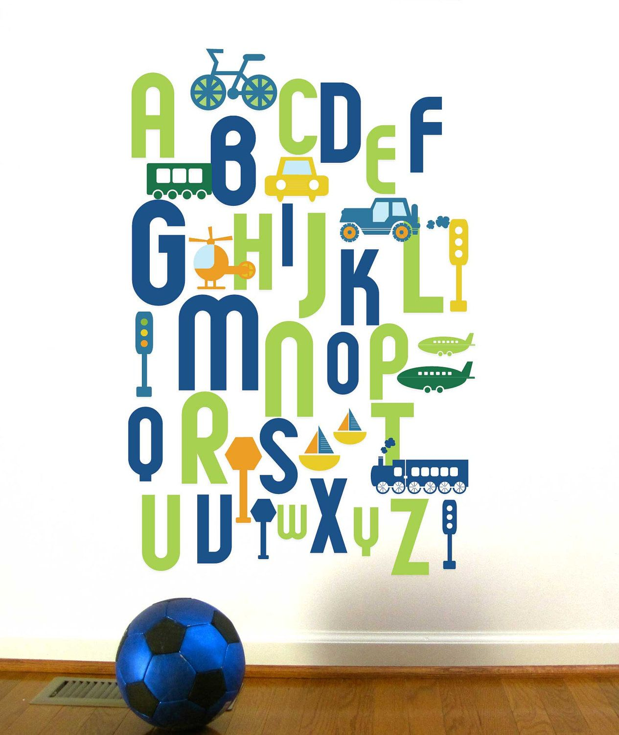 Alphabet Wall Decal For Kids, ABC Transportation, Custom Color And Sizes,  Reusable.
