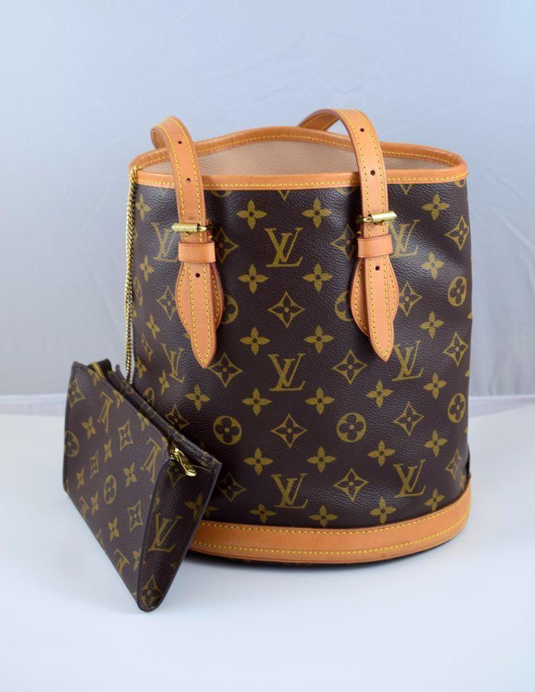 Louis Vuitton Monogram Bucket Bag Zipper Pouch Purse Made In Usa Sd0061 Louisvuitton Bucketbag