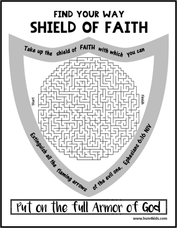 shield of faith armor of god maze free bible worksheet for kids kids bible activities free. Black Bedroom Furniture Sets. Home Design Ideas