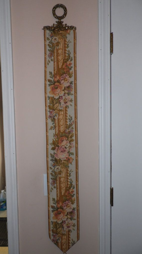 Vintage Tapestry Floral Roses Bell Pull Brass by FabulousFinds1