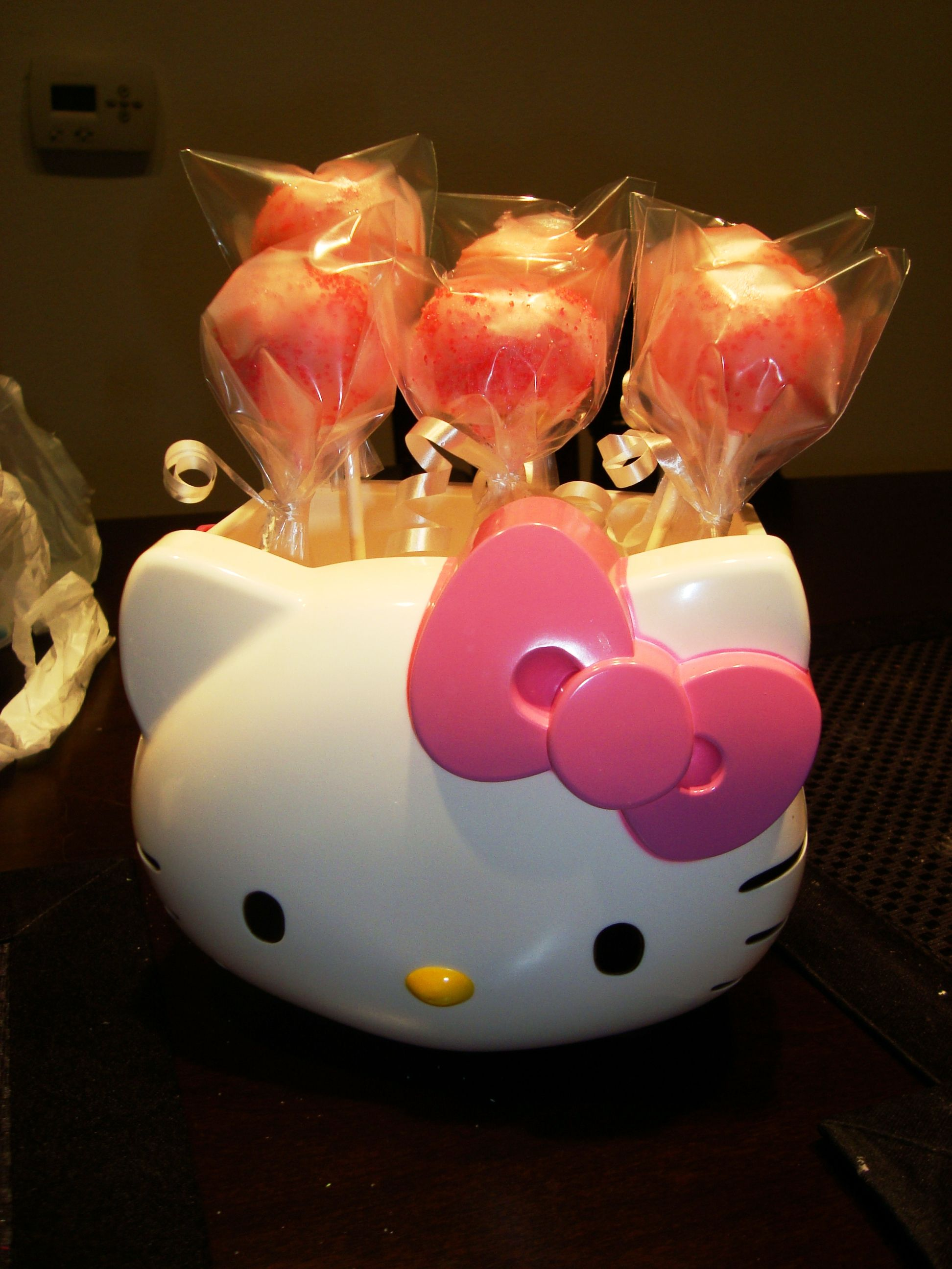 Hello Kitty cake pop bouquet that I made. =) #cakepopbouquet