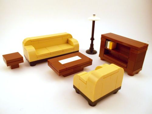 LEGO Furniture: Formal Seating (Tan) w/ couch, bookshelf, tables ++ ...