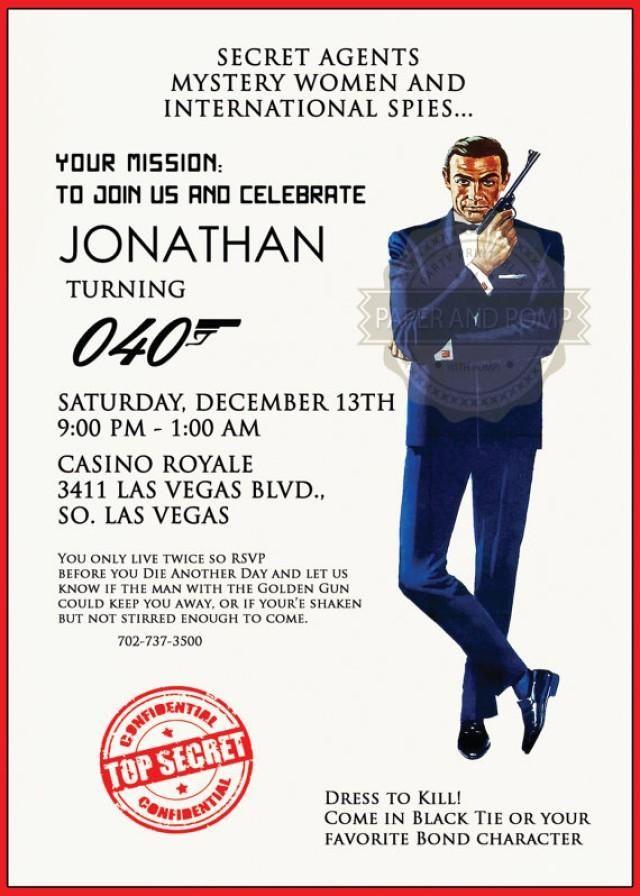 James Bond Top Secret Invitation   Invitations   Pinterest