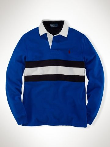Polo Ralph Lauren Men's Classic-Fit Chest Stripe Rugby Rugby Royal Multi  12176123,ed