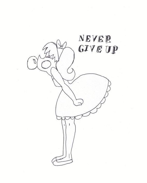 """Cadouxdle arts best seller! Girl with Bubble Gum black and white ink sketch 8x10 Print """"Never Give Up"""""""
