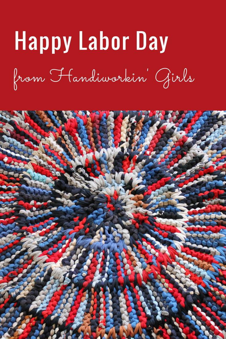 Round Rag Rug Americana And Nautical Decor Red White Blue