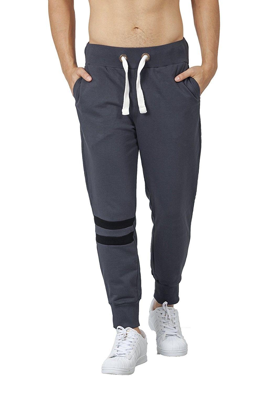 Men's Fleece Jogger Track Pants Stone Grey jet Black