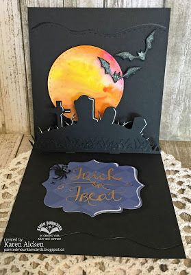 Painted Mountain Cards Pop Up Graveyard Halloween Card Halloween Pop Up Cards Halloween Cards Gift Tag Cards