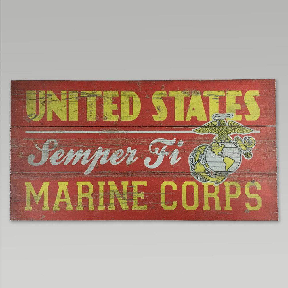 Marines plank wood sign (10.5 in x 20 in)