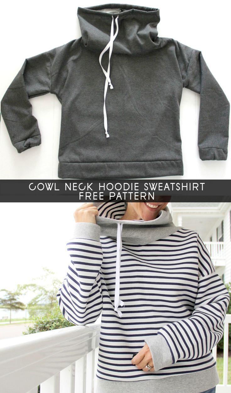 Women\'s Cowl Neck Sweatshirt - Free Pattern | Nähen