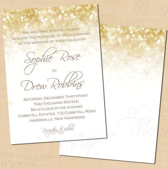 White Gold Sparkles Wedding Invitations 5x7 Portrait Text