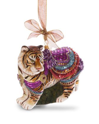 Carousel Tiger Ornament Jay strongwater, Christmas decor and Ornament - christmas carousel decoration