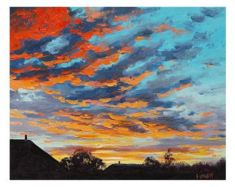 SUNSET OIL PAINTING sunrise Painting rural farm Landscape artwork by Graham Gercken
