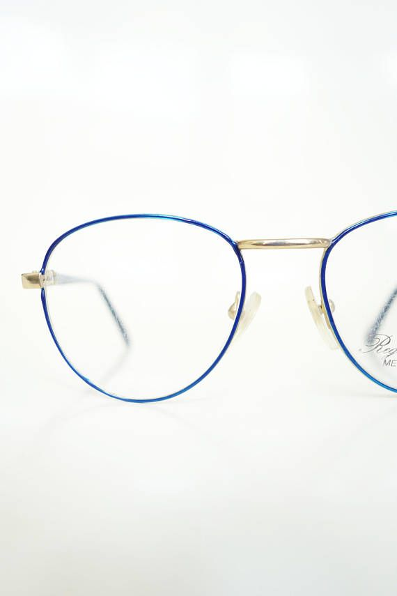Vintage Round Blue P3 Glasses Wire Rim Womens 1980s Optical Sapphire ...