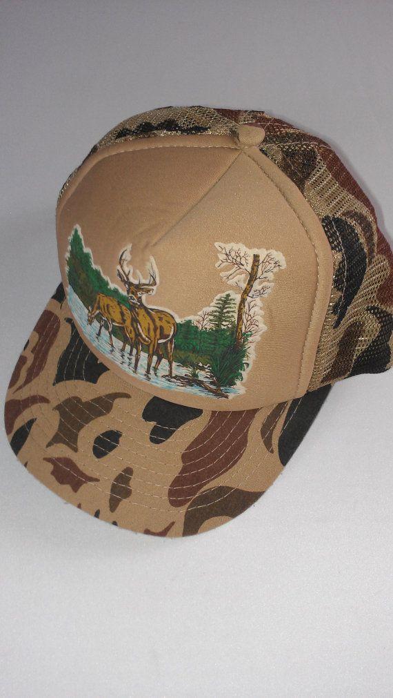6ac9d513dfe Camo Deer Snapback Trucker Hat Cap Brown Nature Hunting Buck Trees Water