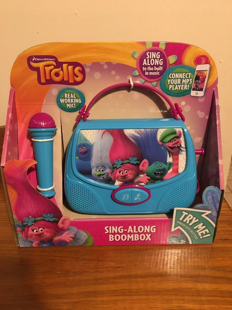 Dreamworks Trolls Sing Along Boombox Wmicrophone Built In Music Or