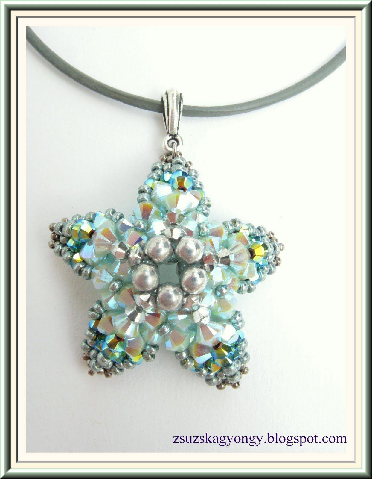 Zsuzska gyöngyvilága: Starfish (Pattern by Sabine Lippert)