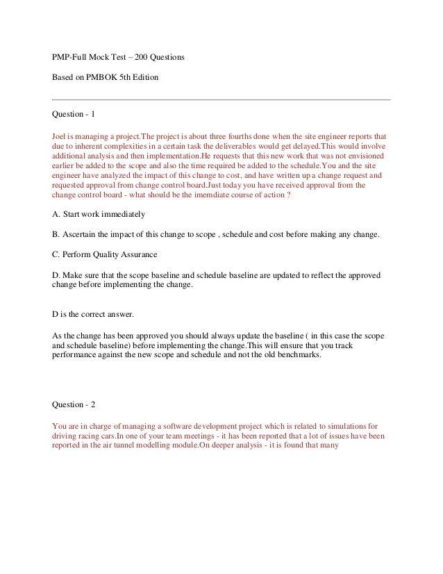 Pmp Full Mock Test   Questions  Pmp    Mock Test