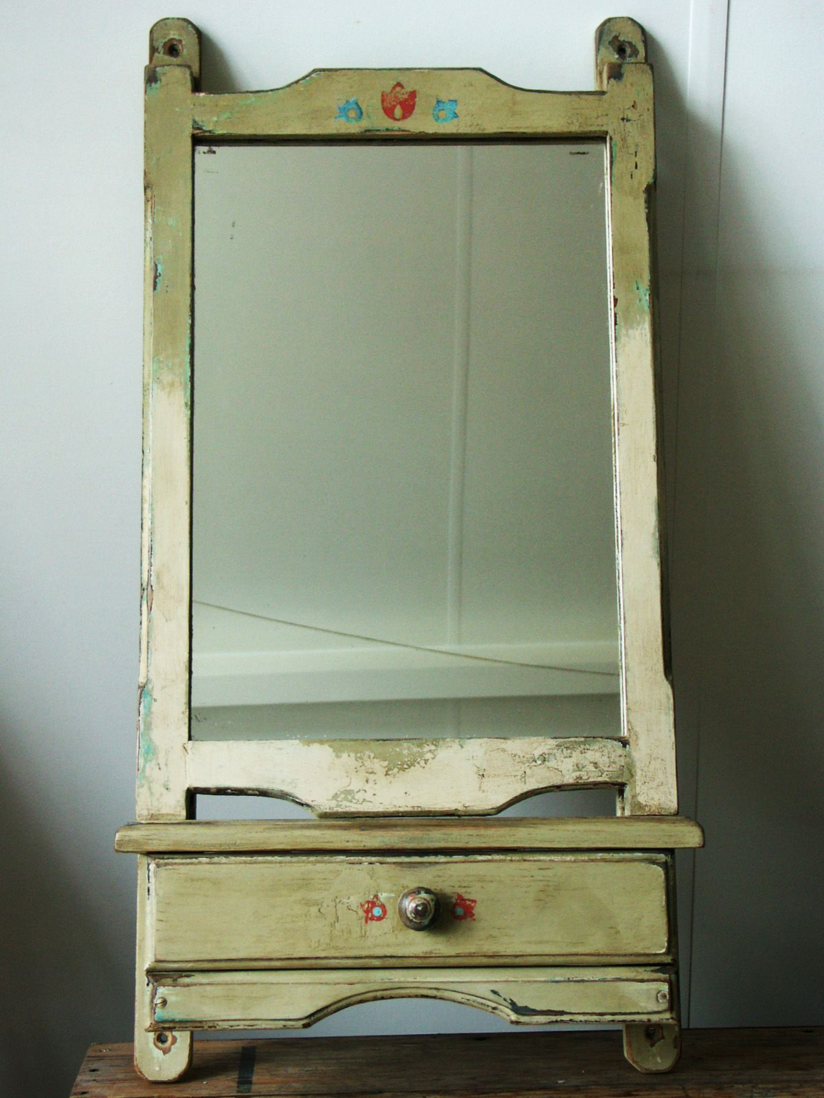 Primitive, chippy mirror with shelf and drawer. Hand ...