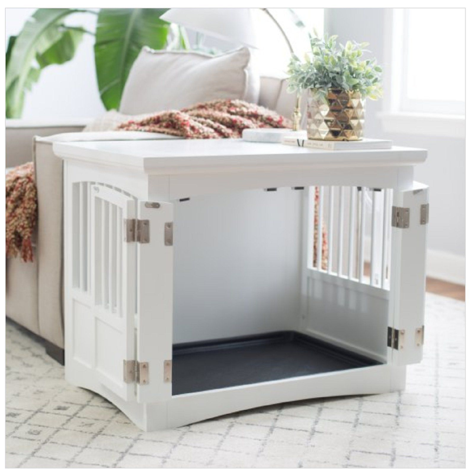 Hot Sale Indoor Dog Crate End Table 2 Door White Wood Bed Kennel Furniture Bedroom Puppy You Can Find M Crate Furniture Dog Crate Furniture Dog Crate Table Wooden dog crate end tables