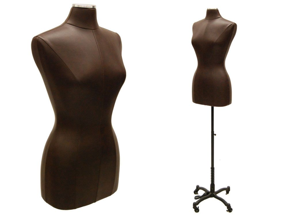 Female Dress Form -- Brown Faux Leather