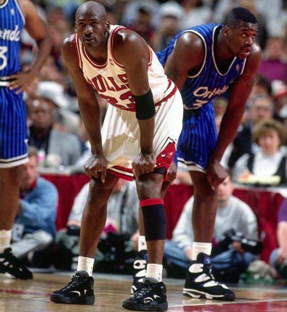 126e70fb380 Michael Jordan wearing the Nike Air Flight One. Shaq in the back ...