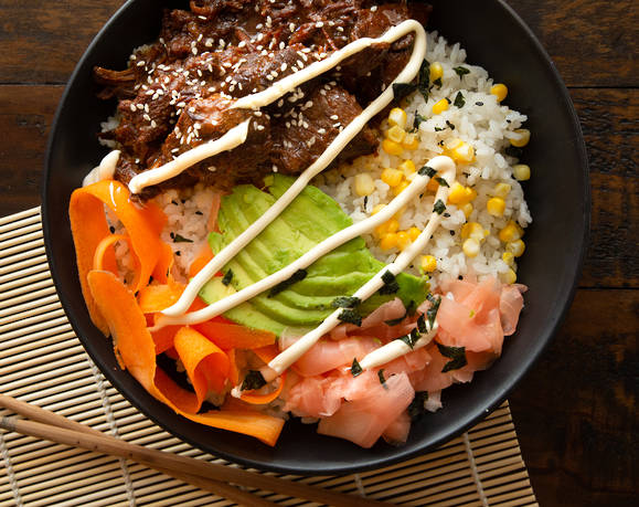 Teriyaki Beef Sushi Bowl in 2020 Beef recipes, Teriyaki
