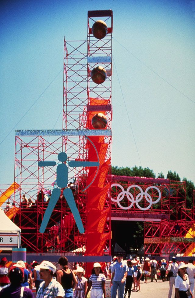 Scaffolding tower for Los Angeles Olympics, designed by Sussman/Prejza, 1984