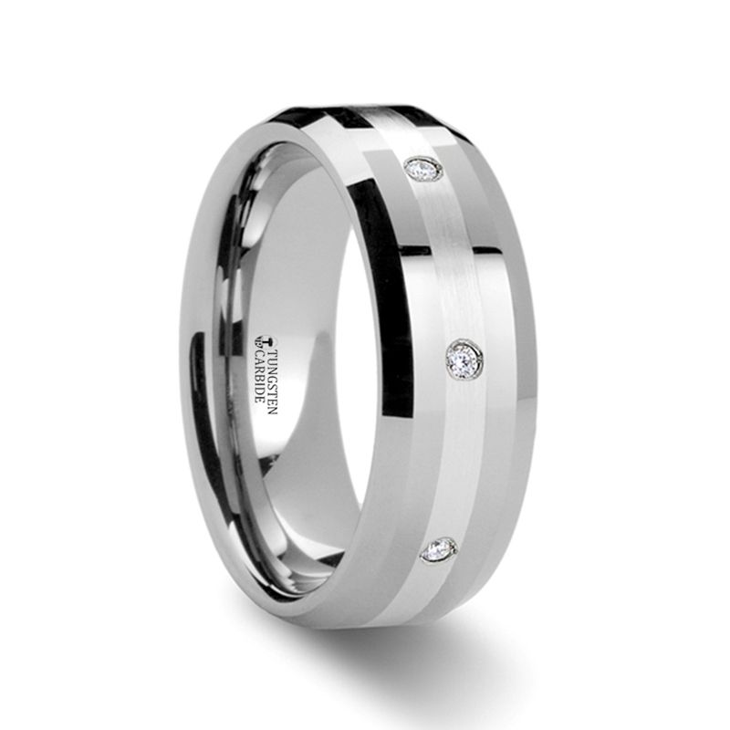 FB Jewels Tungsten Black Multi Grooves CZ Cubic Zirconia Inlay Comfort-fit 8mm Wedding Band Ring