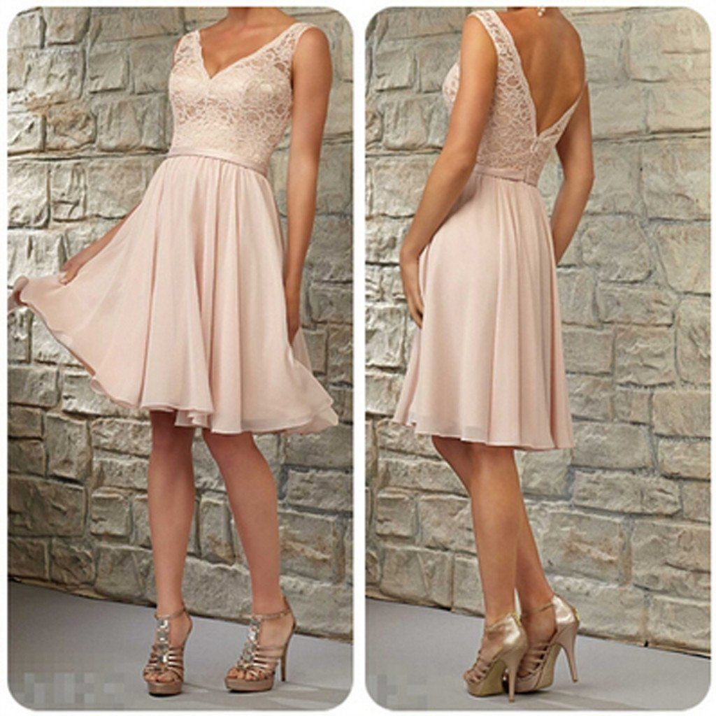 Short lace top off shoulder vneck kneelength blush pink bridesmaid