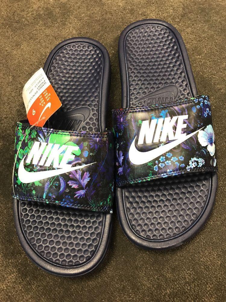 df4a066fdf37 Nike Benassi JDI Print Floral Blue Design Slides New Size 9