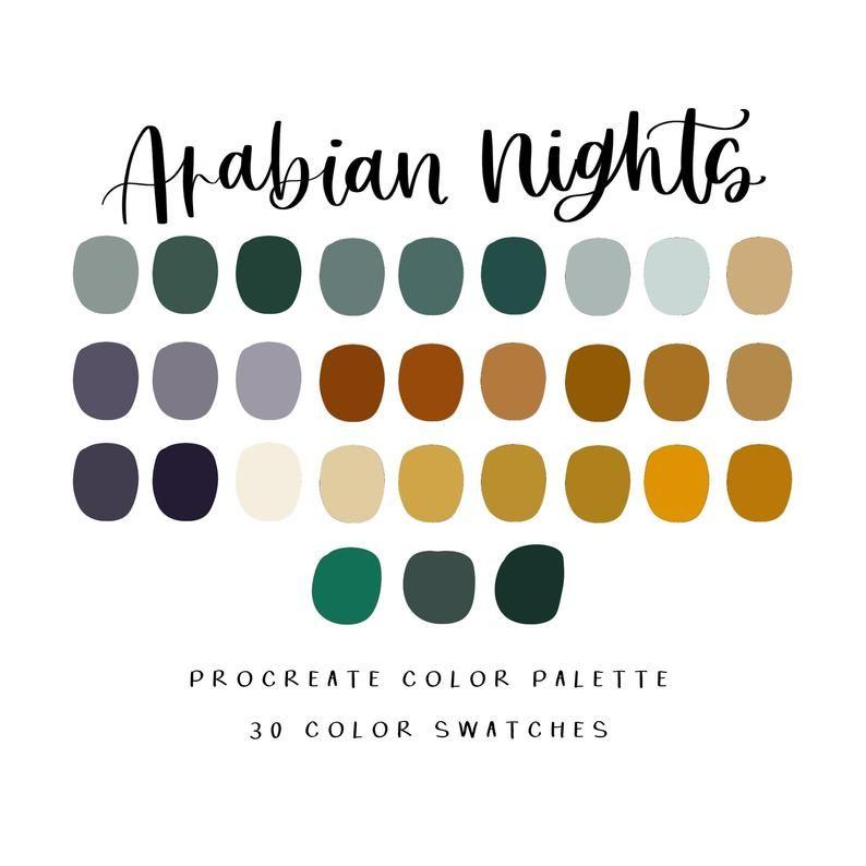 Arabian Nights Procreate Palette Telechargement Instantane Etsy In 2020 Color Palette Color Palette Design Ipad Art