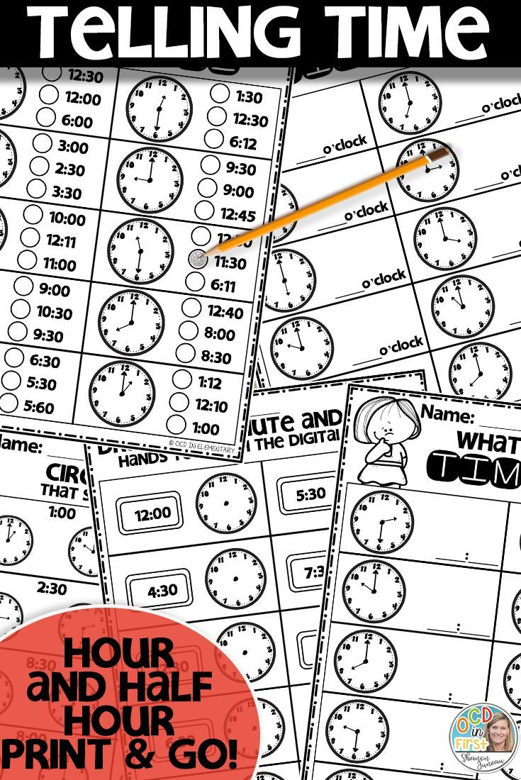Math Worksheets Telling Time | Hour and Half Hour | Telling time ...