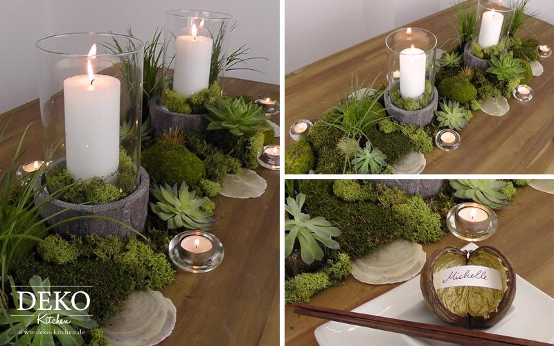 diy tischdeko mit moos und sukkulenten deko-kitchen | esstisch und, Garten ideen