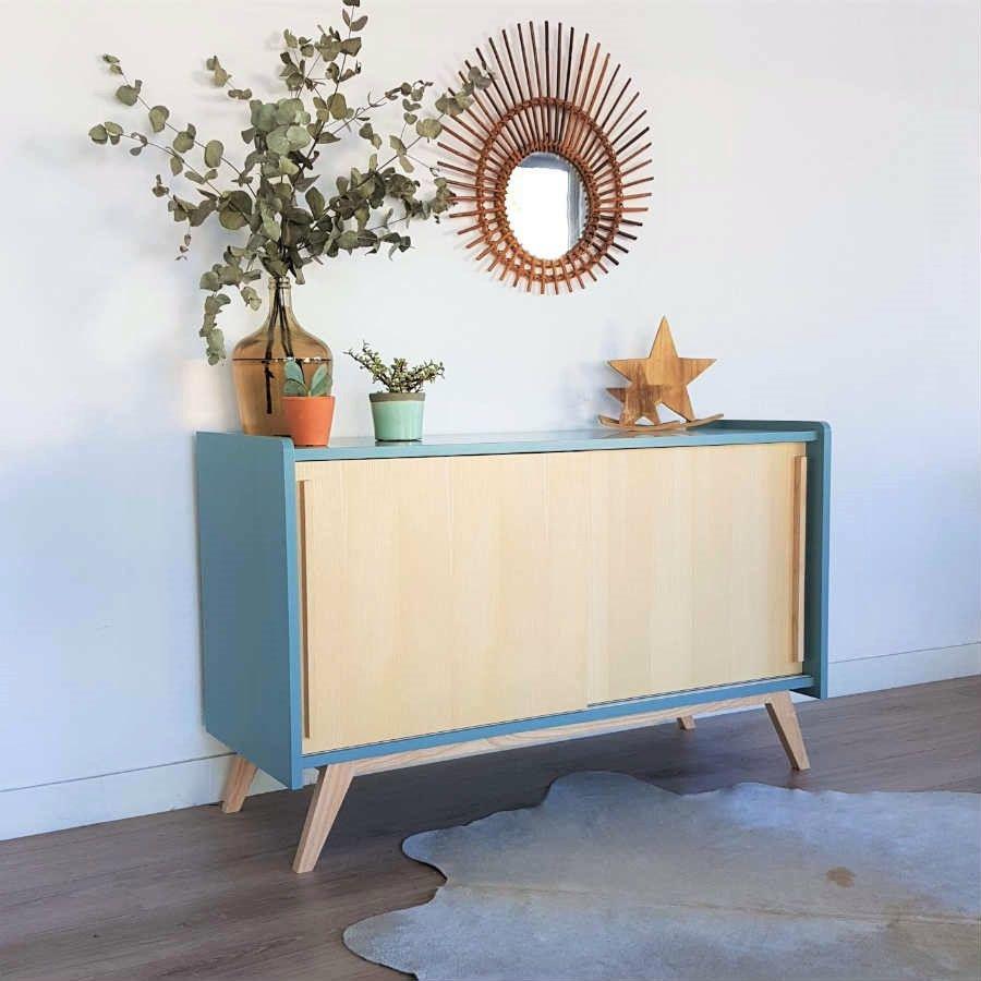 Meuble tv, enfilade scandinave en bois, bleu acier, modèle Pénélope ...
