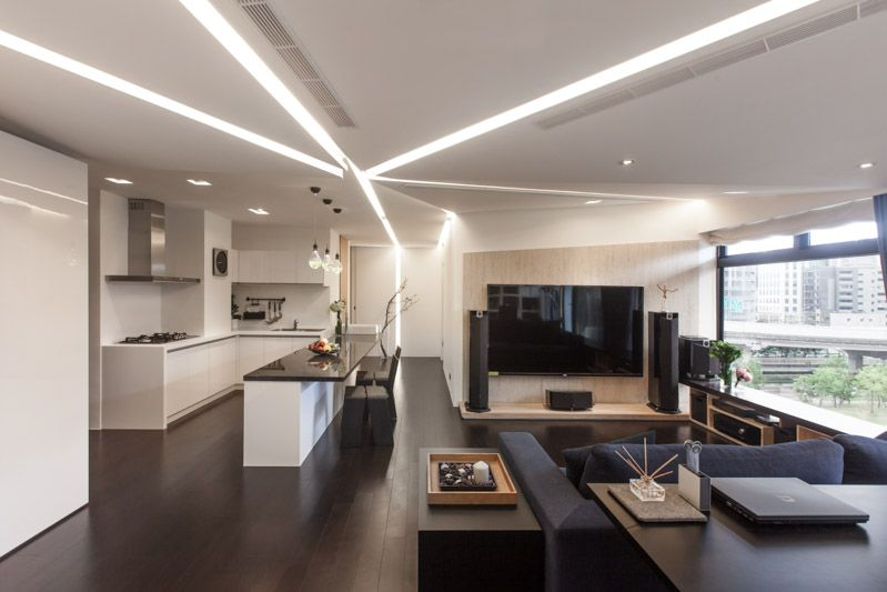 Modern Living Room Kitchen modern house taipei 7 high level of interactivity exuded