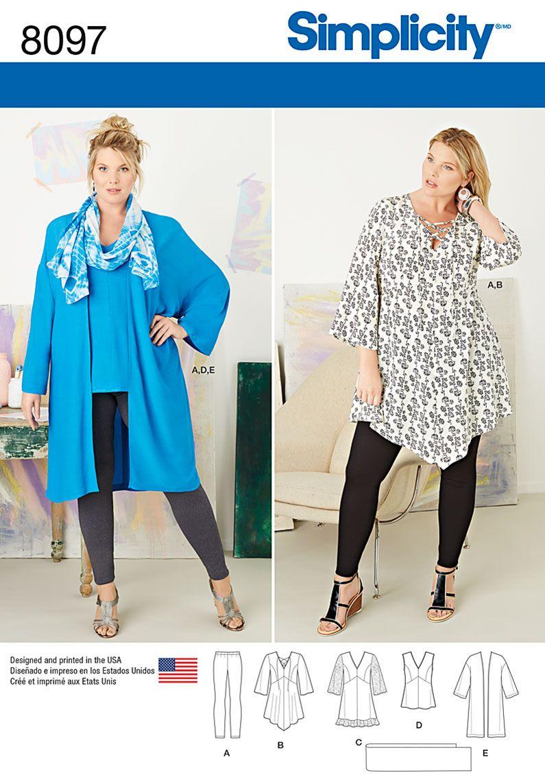 Simplicity 8097 Plus Size Tunic, Top, Kimono and Knit Leggings ...