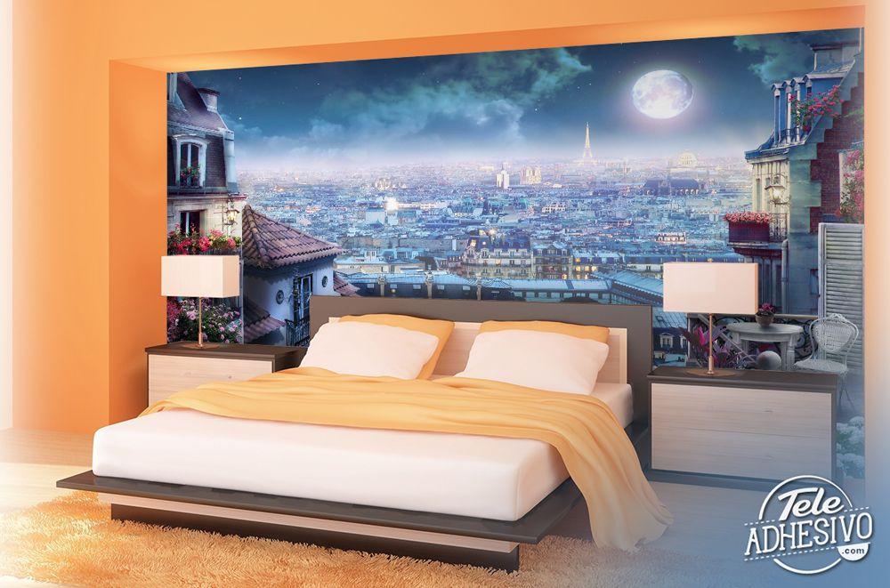 Fotomurales Terraza En Paris Vista Nocturna París Ciudad